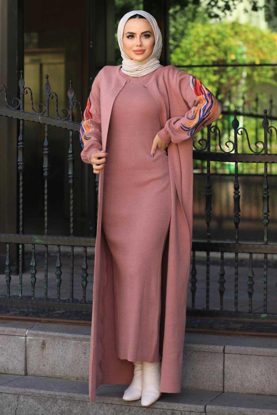 Dusty Rose Hijab Dual Suit Dress 2200GK