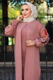 Dusty Rose Hijab Dual Suit Dress 2200GK - Thumbnail