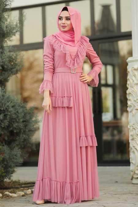 Dusty Rose Hijab Evening Dress 2134GK