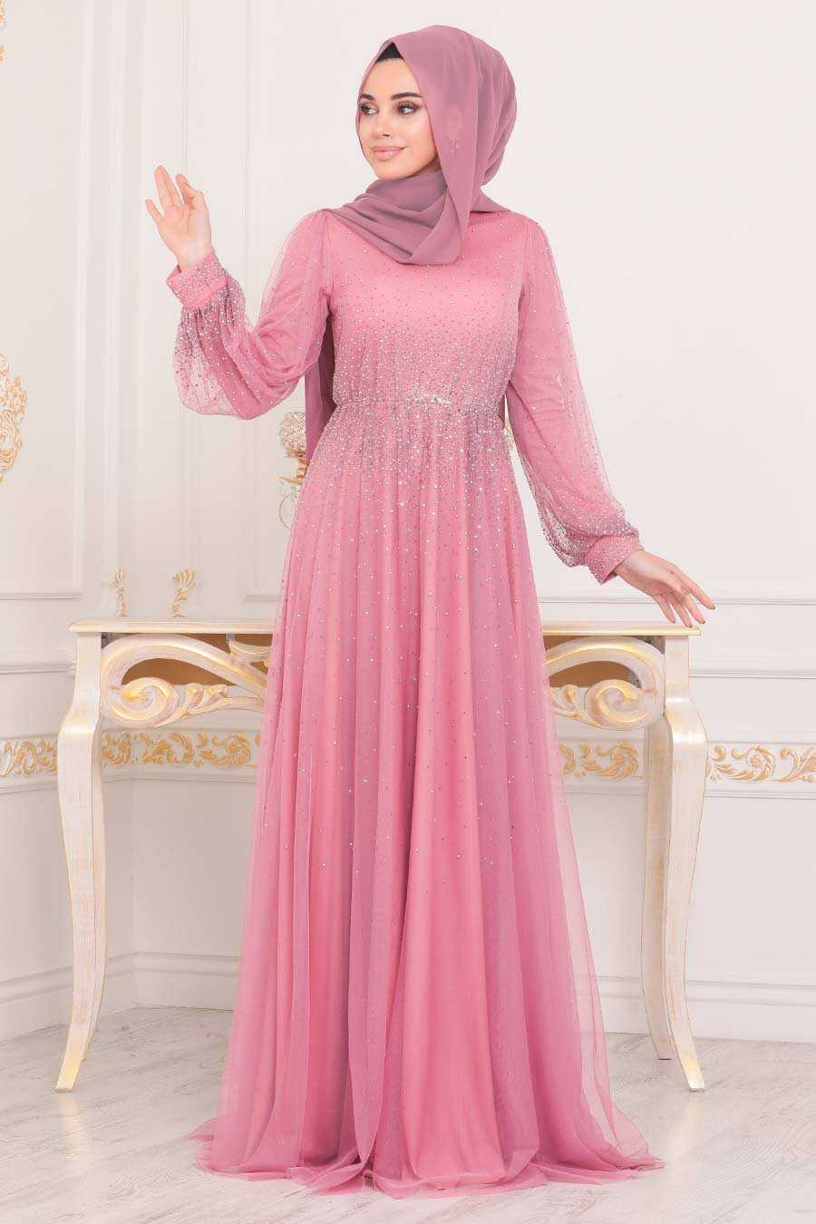 Dusty Rose Hijab Evening Dress 21501GK