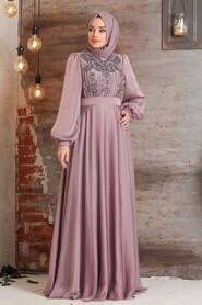 Dusty Rose Hijab Evening Dress 2155GK - Thumbnail