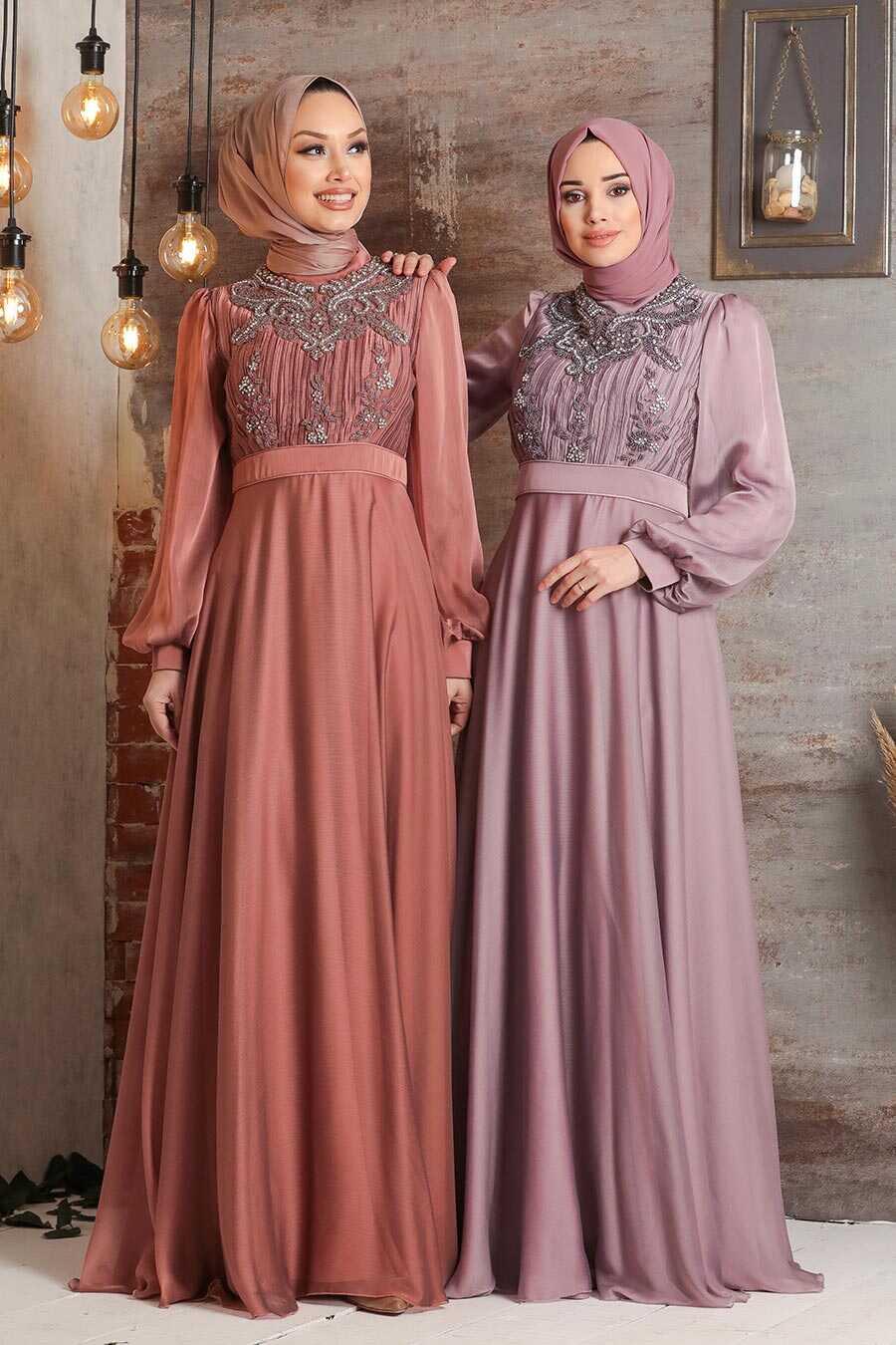 Dusty Rose Hijab Evening Dress 2155GK