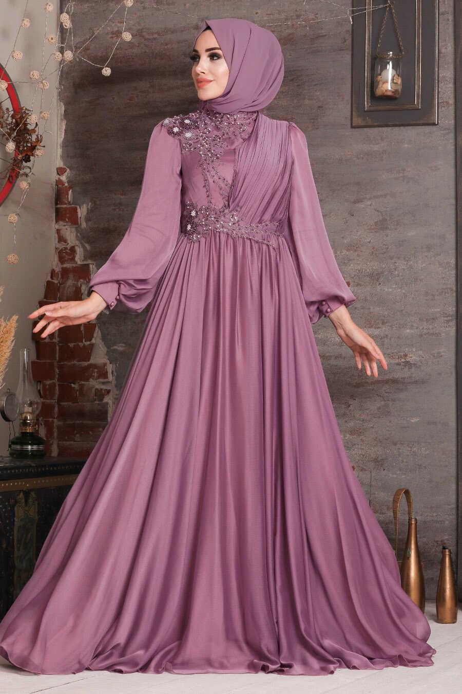 Dusty Rose Hijab Evening Dress 21650GK
