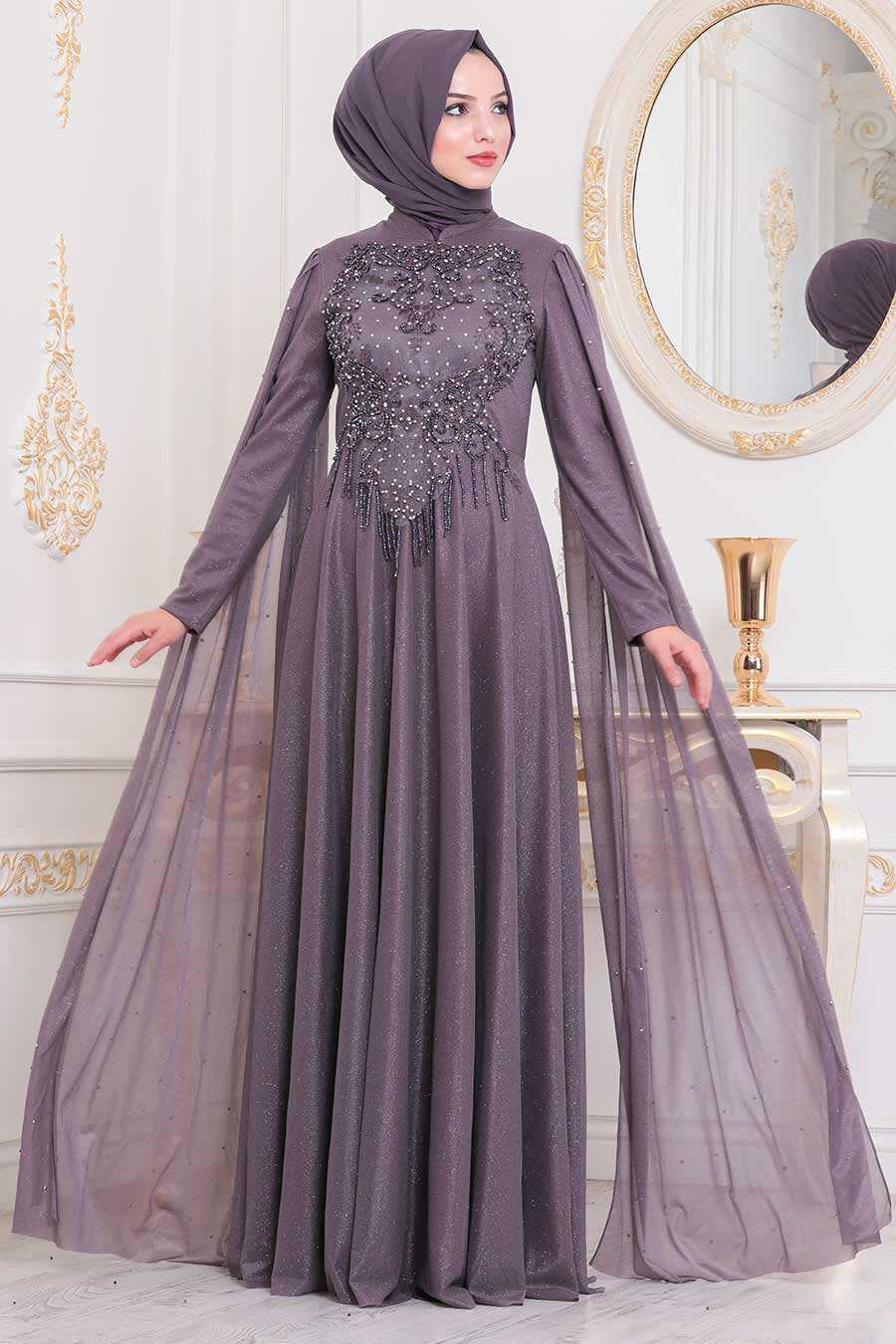 Dusty Rose Hijab Evening Dress 2177KGK