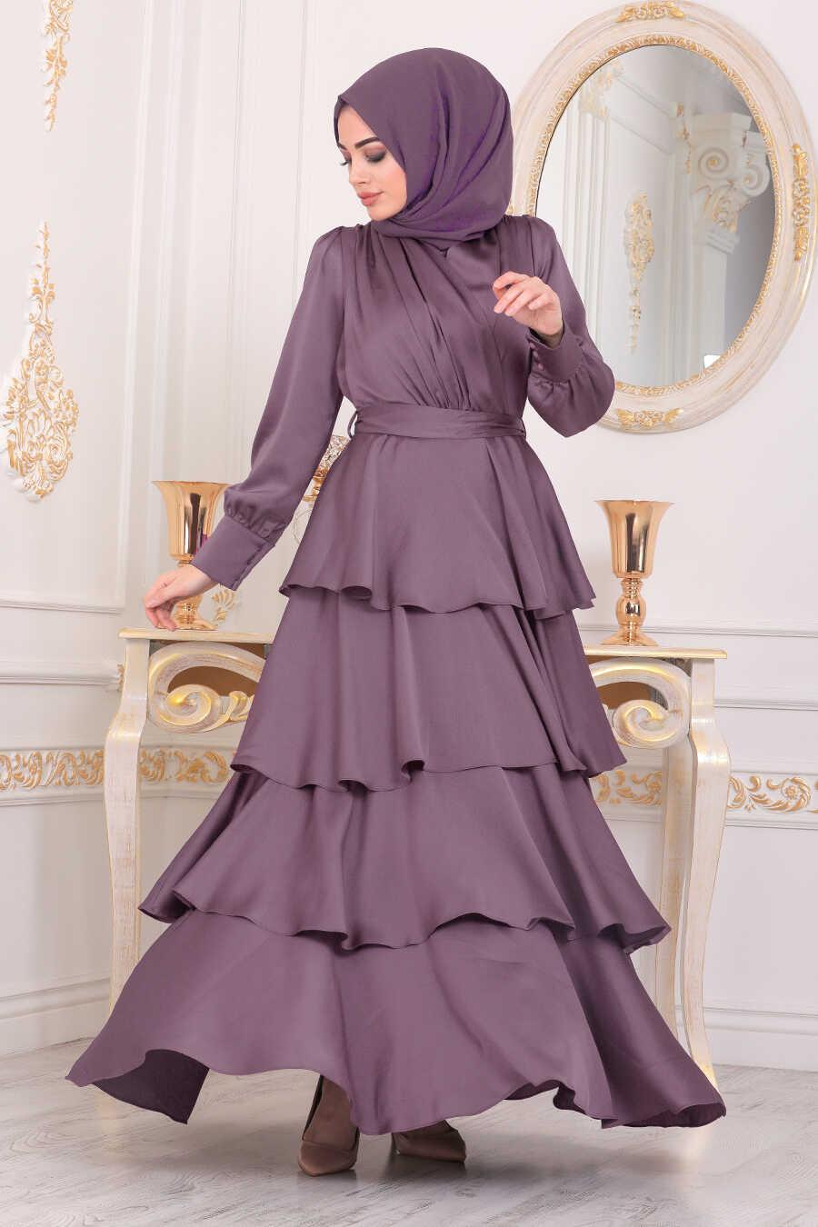 Dusty Rose Hijab Evening Dress 22701GK