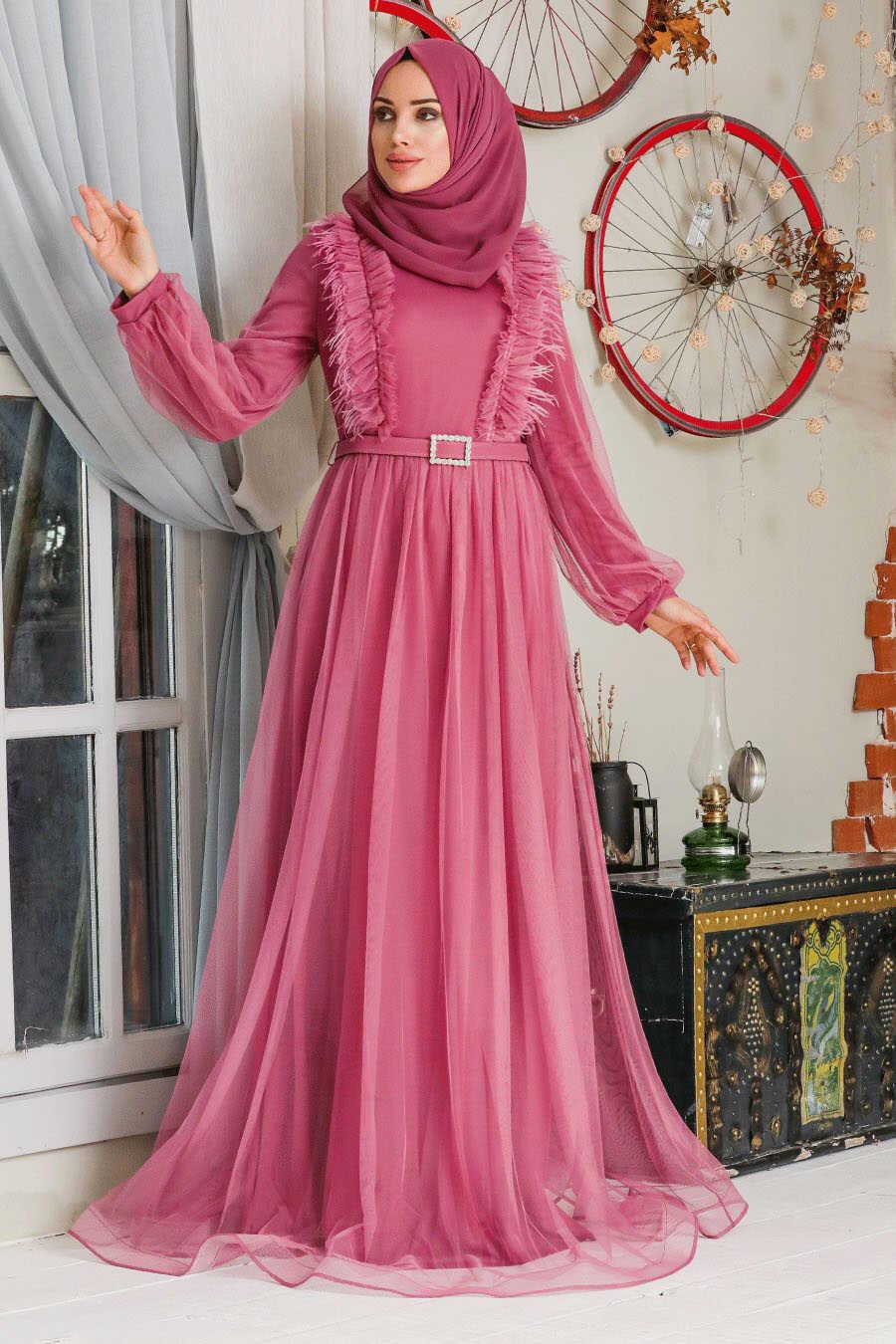 Dusty Rose Hijab Evening Dress 34801GK