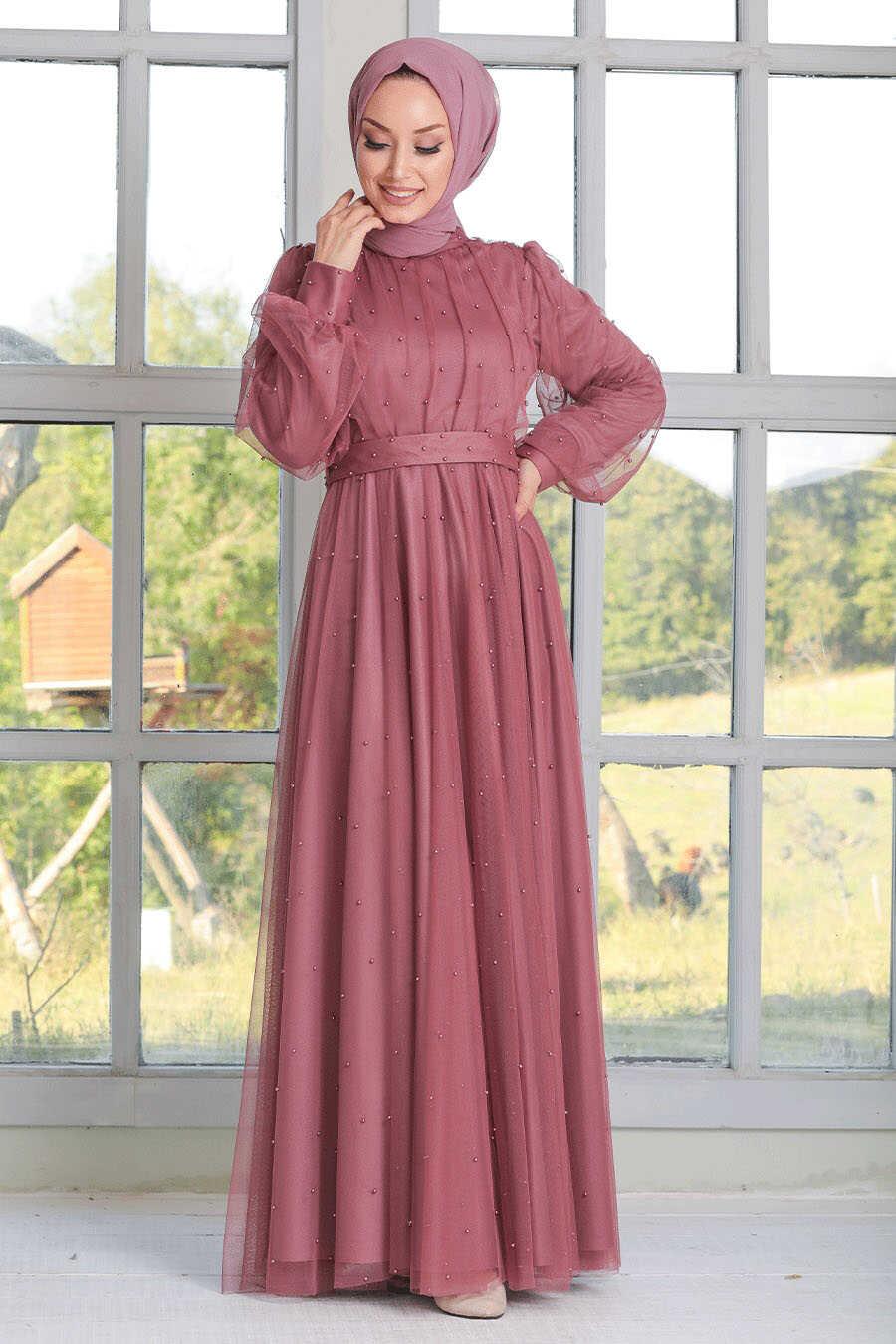 Dusty Rose Hijab Evening Dress 50080GK