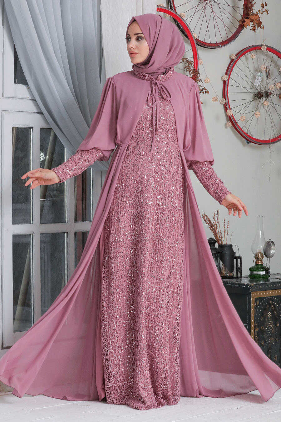 Dusty Rose Hijab Evening Dress 50090GK