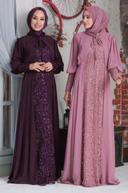 Dusty Rose Hijab Evening Dress 50090GK - Thumbnail