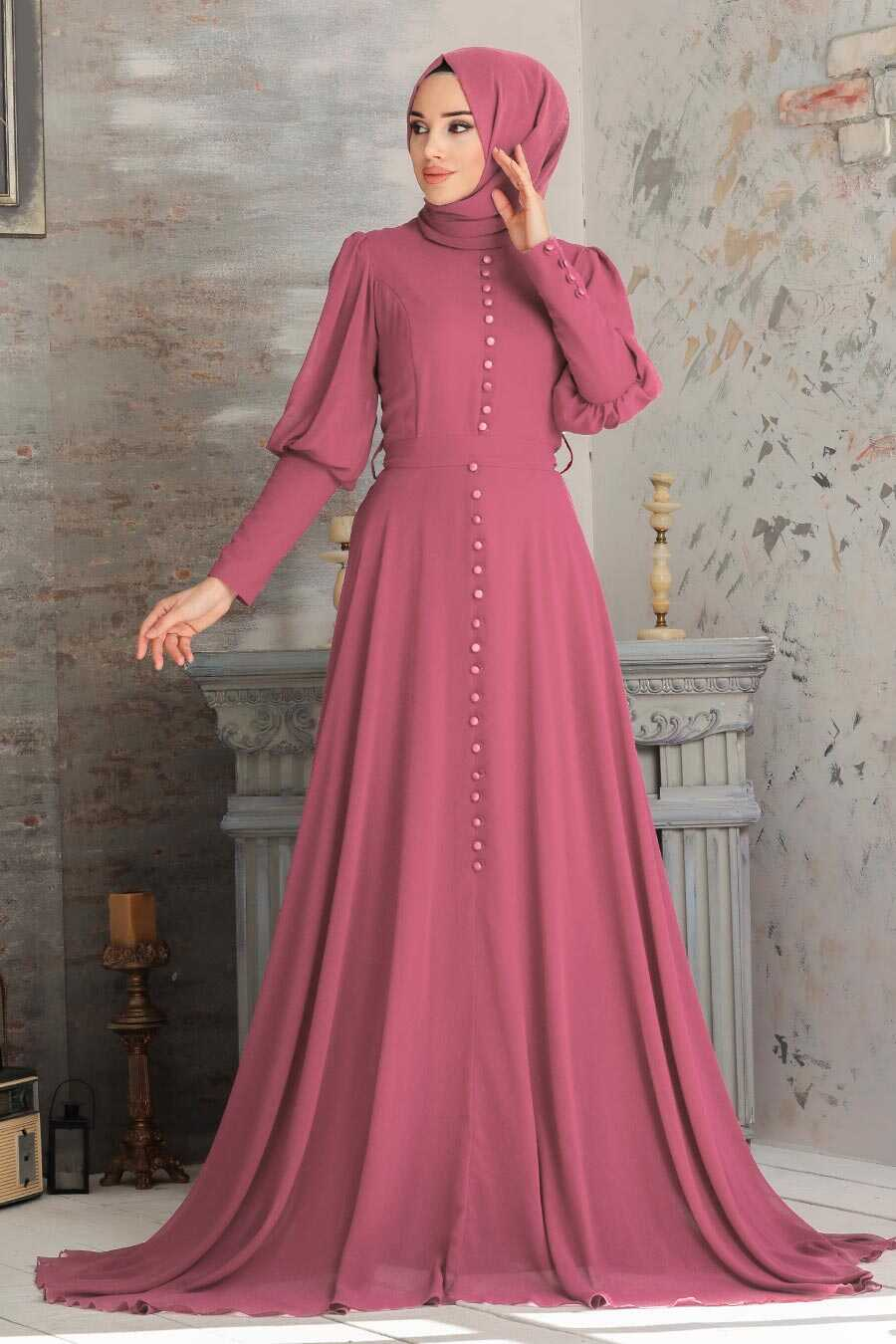 Dusty Rose Hijab Evening Dress 54551GK