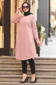 Dusty Rose Hijab Knitwear Tunic 1964GK - Thumbnail