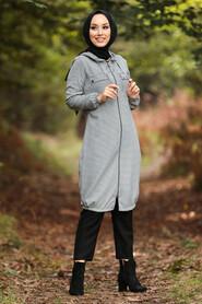 Ecru Hijab Coat 503E - Thumbnail