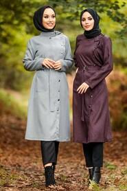 Ecru Hijab Coat 5575E - Thumbnail