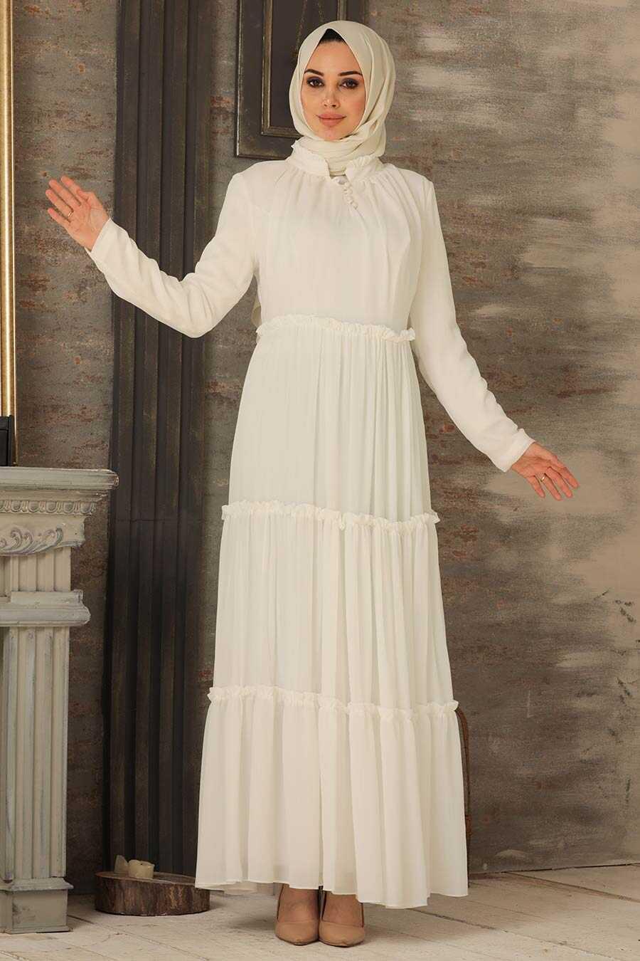 Ecru Hijab Dress 2746E