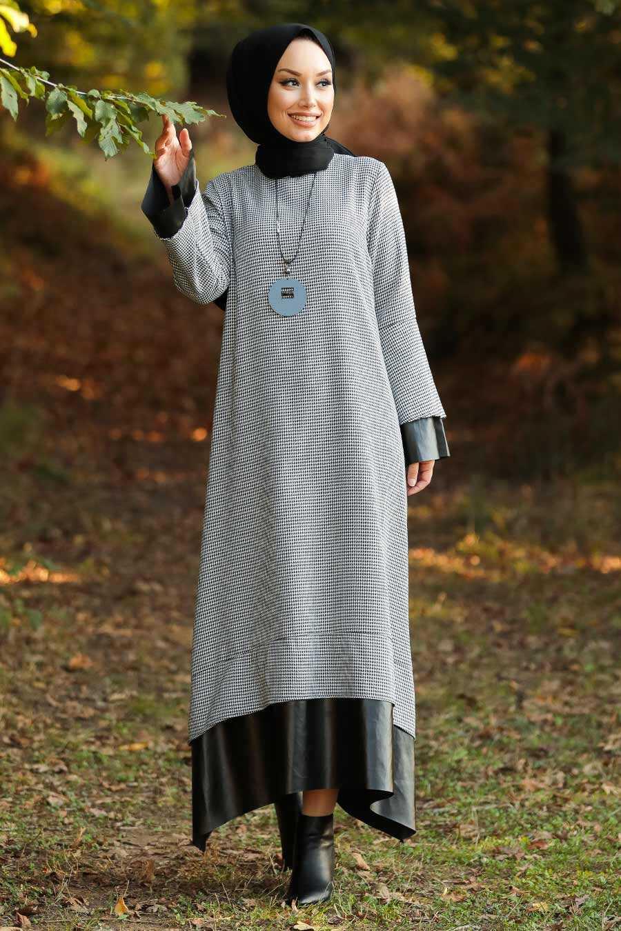 Ecru Hijab Dress 3348E