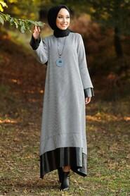 Ecru Hijab Dress 3348E - Thumbnail