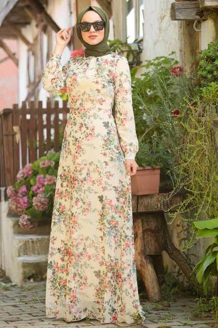 Ecru Hijab Dress 815216E