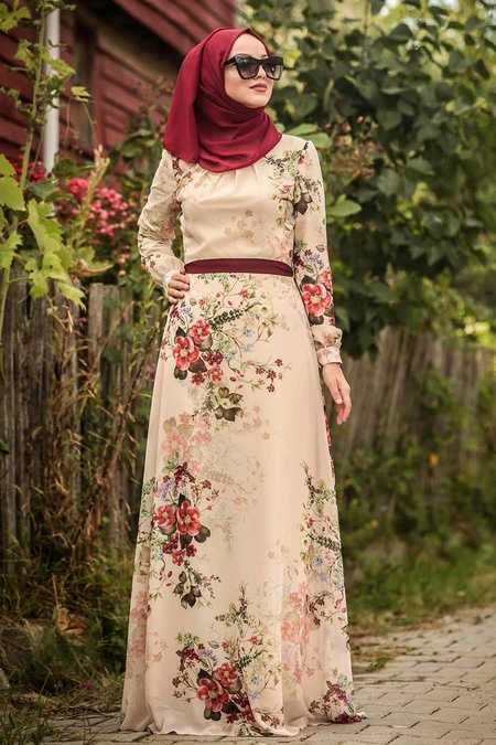 Ecru Hijab Dress 815220E