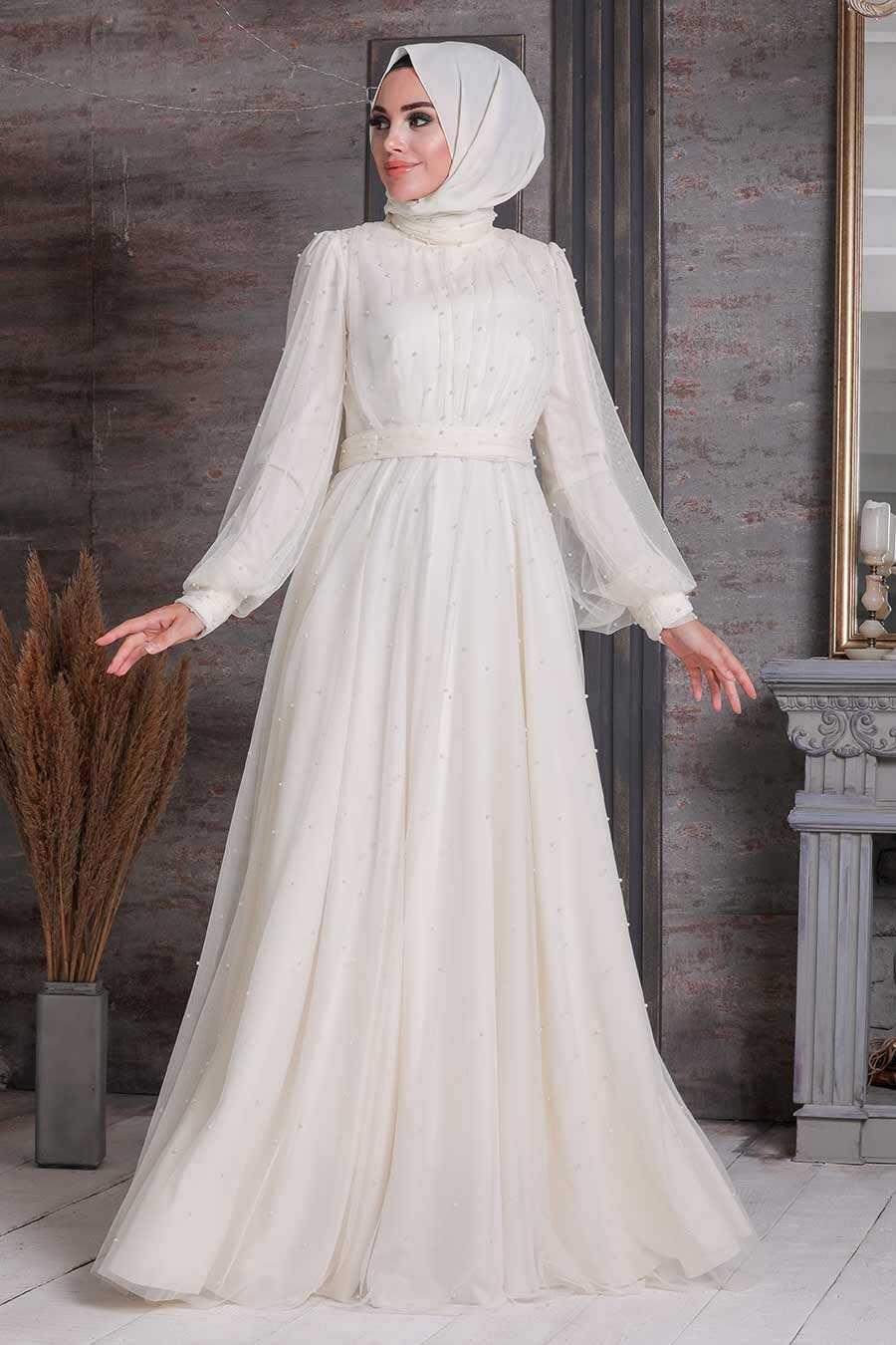 Ecru Hijab Evening Dress 2176E