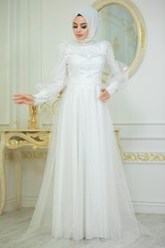 Ecru Hijab Evening Dress 21790E - Thumbnail