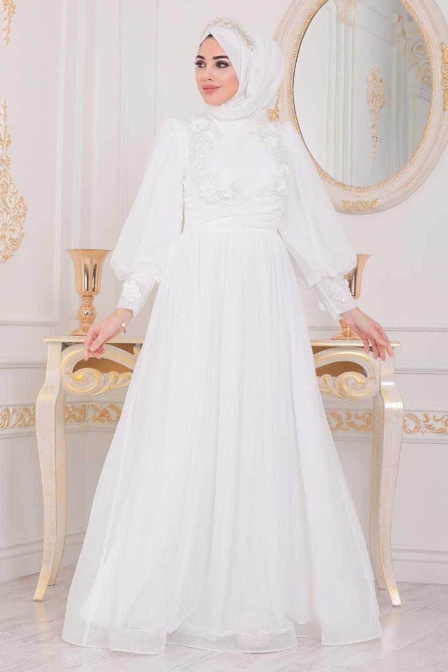 Ecru Hijab Evening Dress 40302E