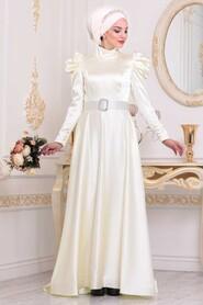 Ecru Hijab Evening Dress 40801E - Thumbnail