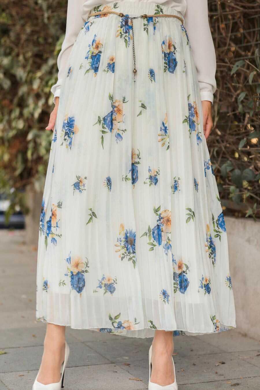 Ecru Hijab Skirt 18191E