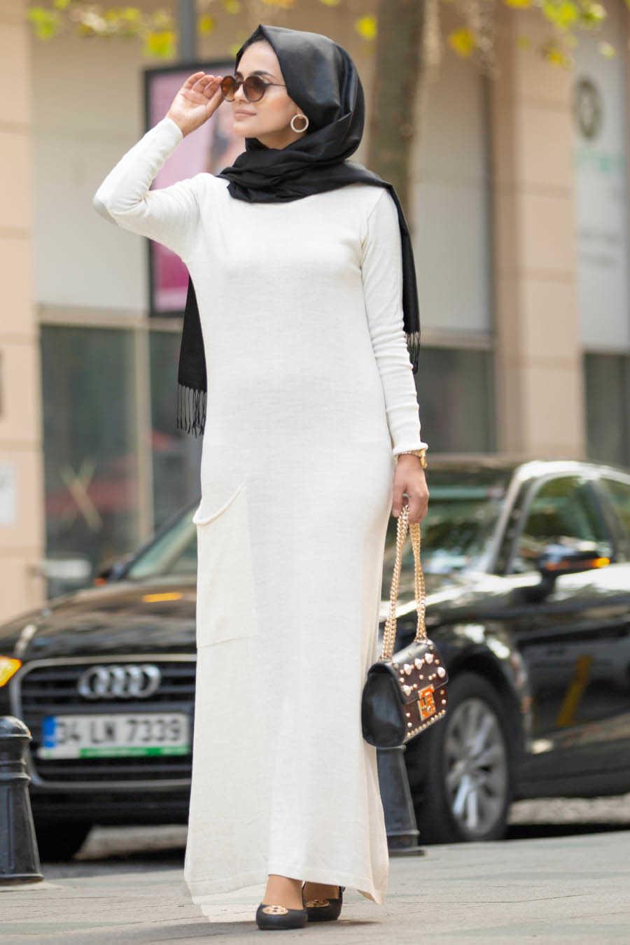 Ecru Hijab Dress 15369E