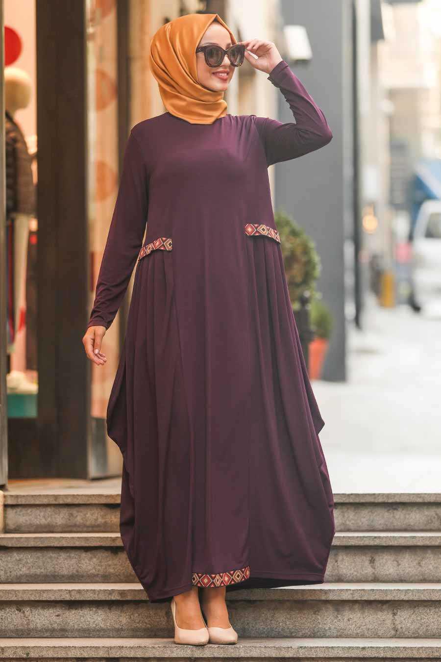 Etnik Desen Detaylı Mürdüm Tesettür Elbise 9540MU