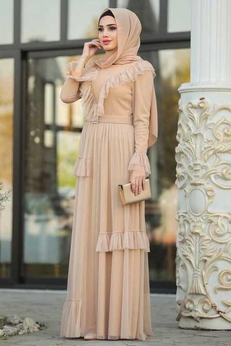 Fırfır Detaylı Gold Tesettür Abiye Elbise 2134GOLD