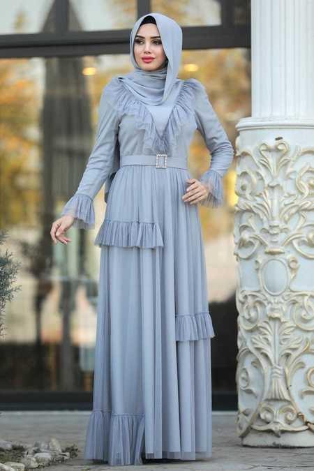 Fırfır Detaylı Gri Tesettür Abiye Elbise 2134GR