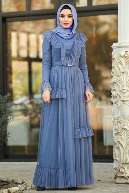 Fırfır Detaylı İndigo Mavisi Tesettür Abiye Elbise 2134IM