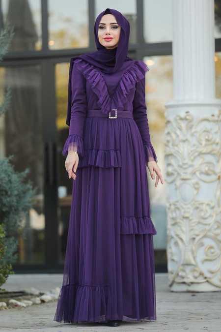 Fırfır Detaylı Mor Tesettür Abiye Elbise 2134MOR
