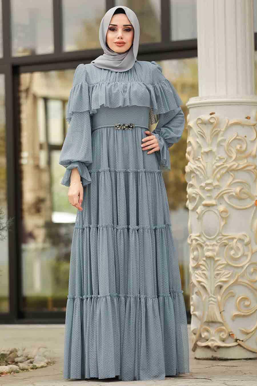 Fırfırlı Mavi Tesettür Abiye Elbise 3975M