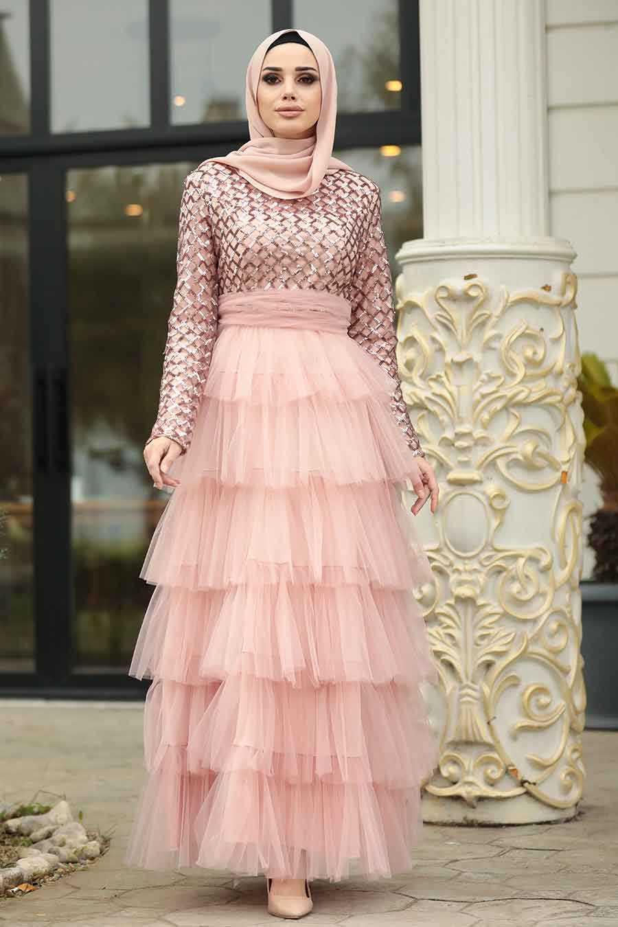 Fırfırlı Somon Tesettür Abiye Elbise 8667SMN