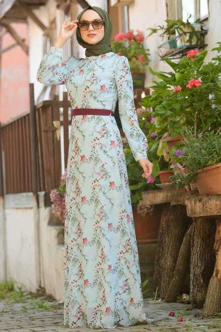 Flower Patterned Baby Blue Hijab Dresses 815217BM