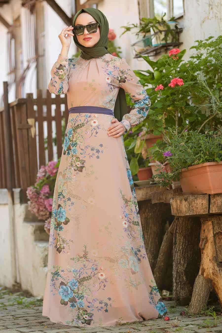 Flower Patterned Beige Hijab Dresses 815214BEJ