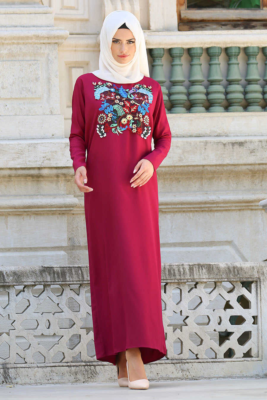 Fuchsia Hijab Dress 3068F