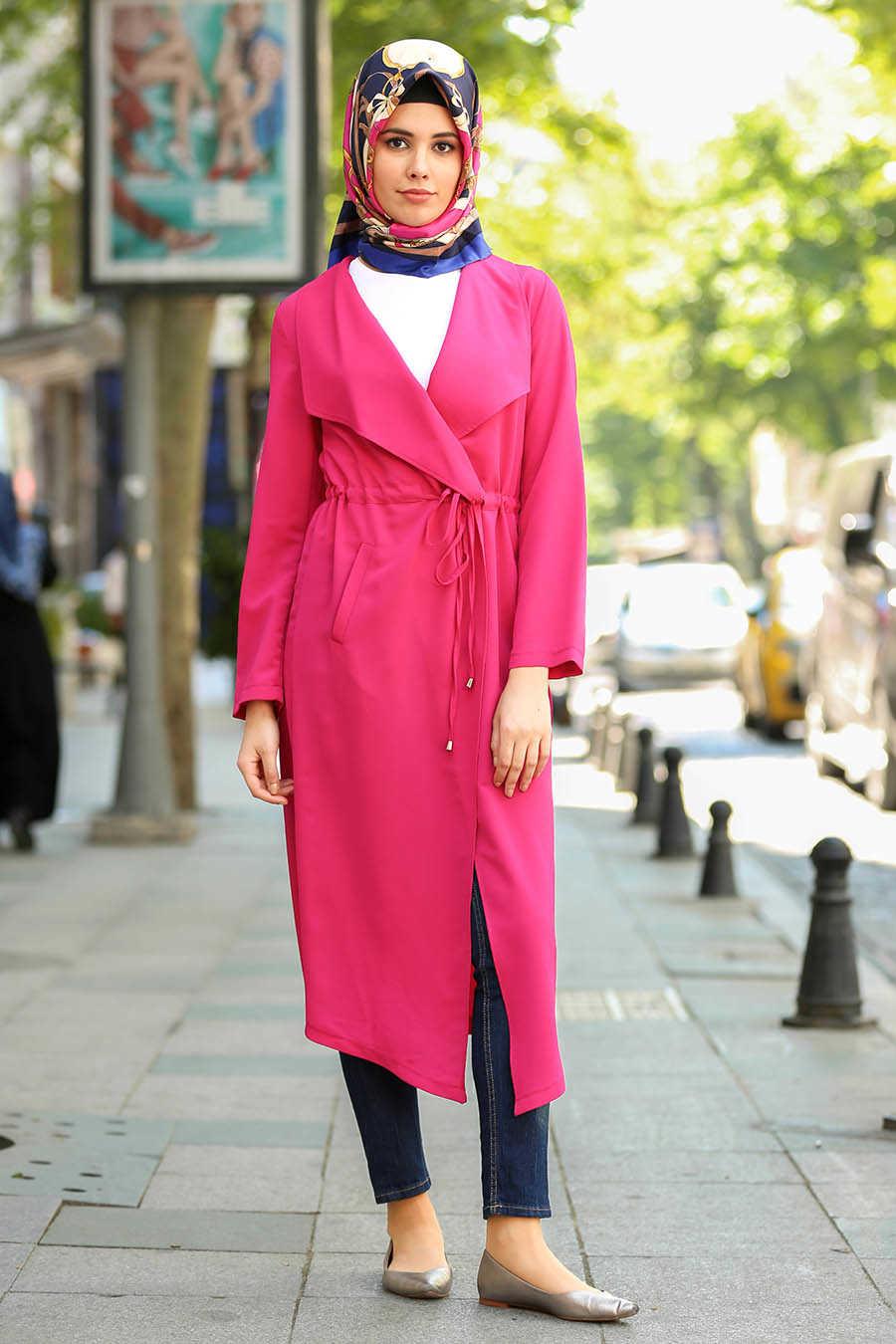 Fuchsia Hijab Coat 4896F
