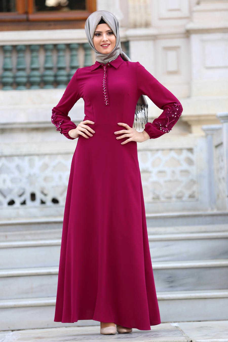 Fuchsia Hijab Dress 8145F