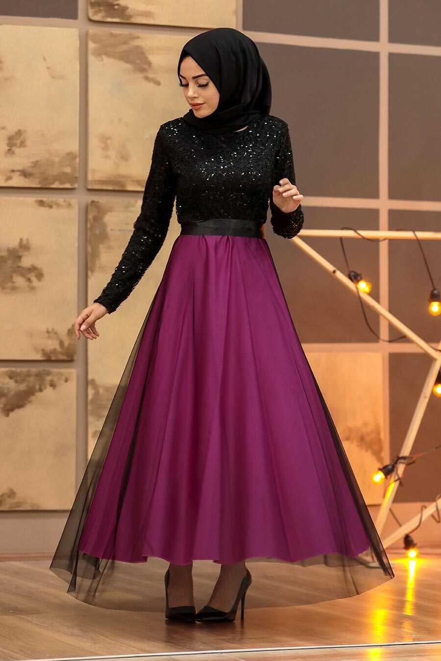 Fuchsia Hijab Evening Dress 50040F