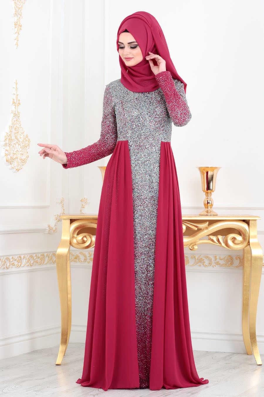Fuchsia Hijab Evening Dress 90020F