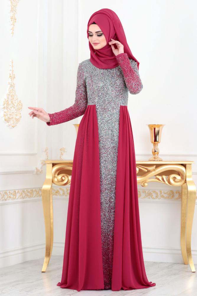 Fuchsia Hijab Evening Dress 90020F - Thumbnail