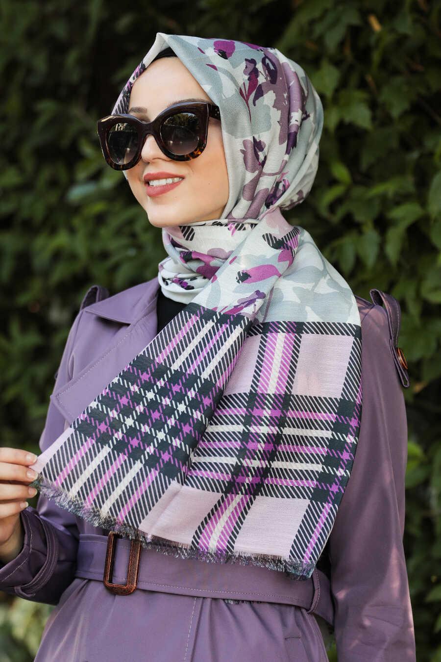 Fuchsia Hijab Shawl 7554F - Neva-style.com