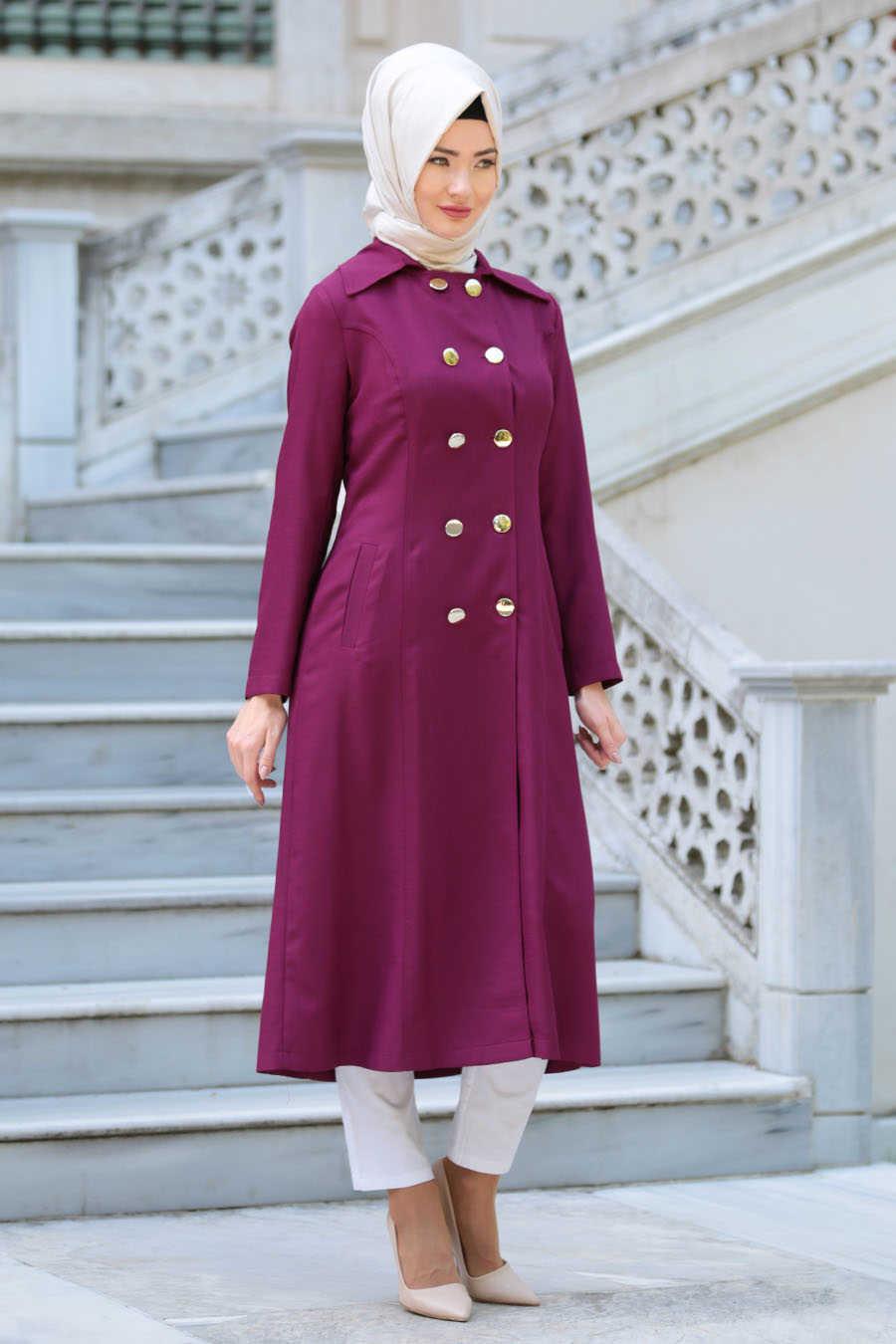 Fuchsia Hijab Coat 52090F