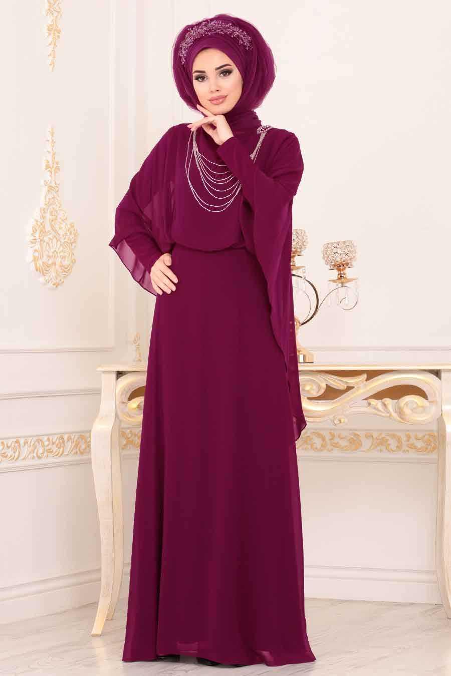 Fuchsia Hijab Evening Dress 3829F