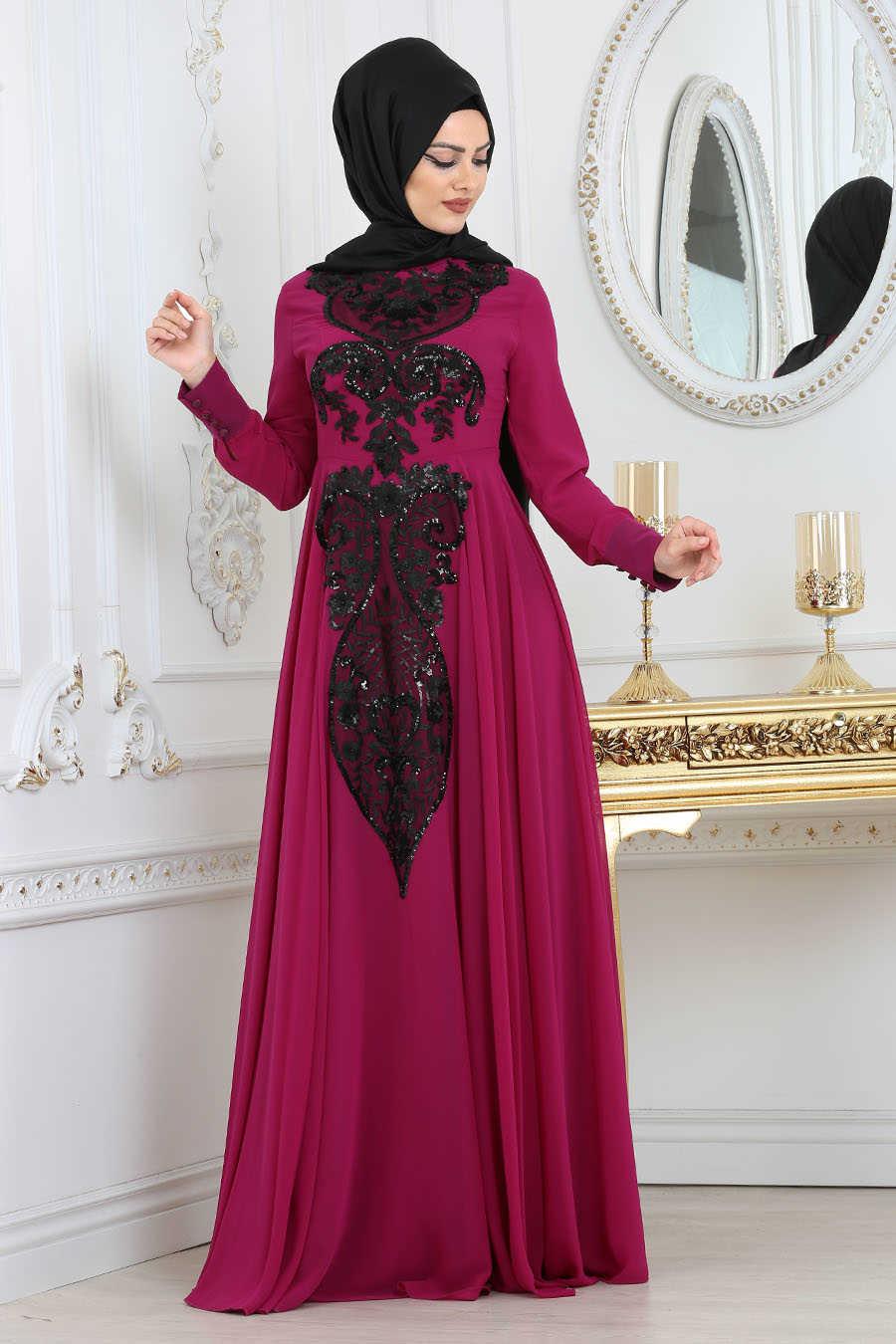 Fuchsia Hijab Evening Dress 7533F
