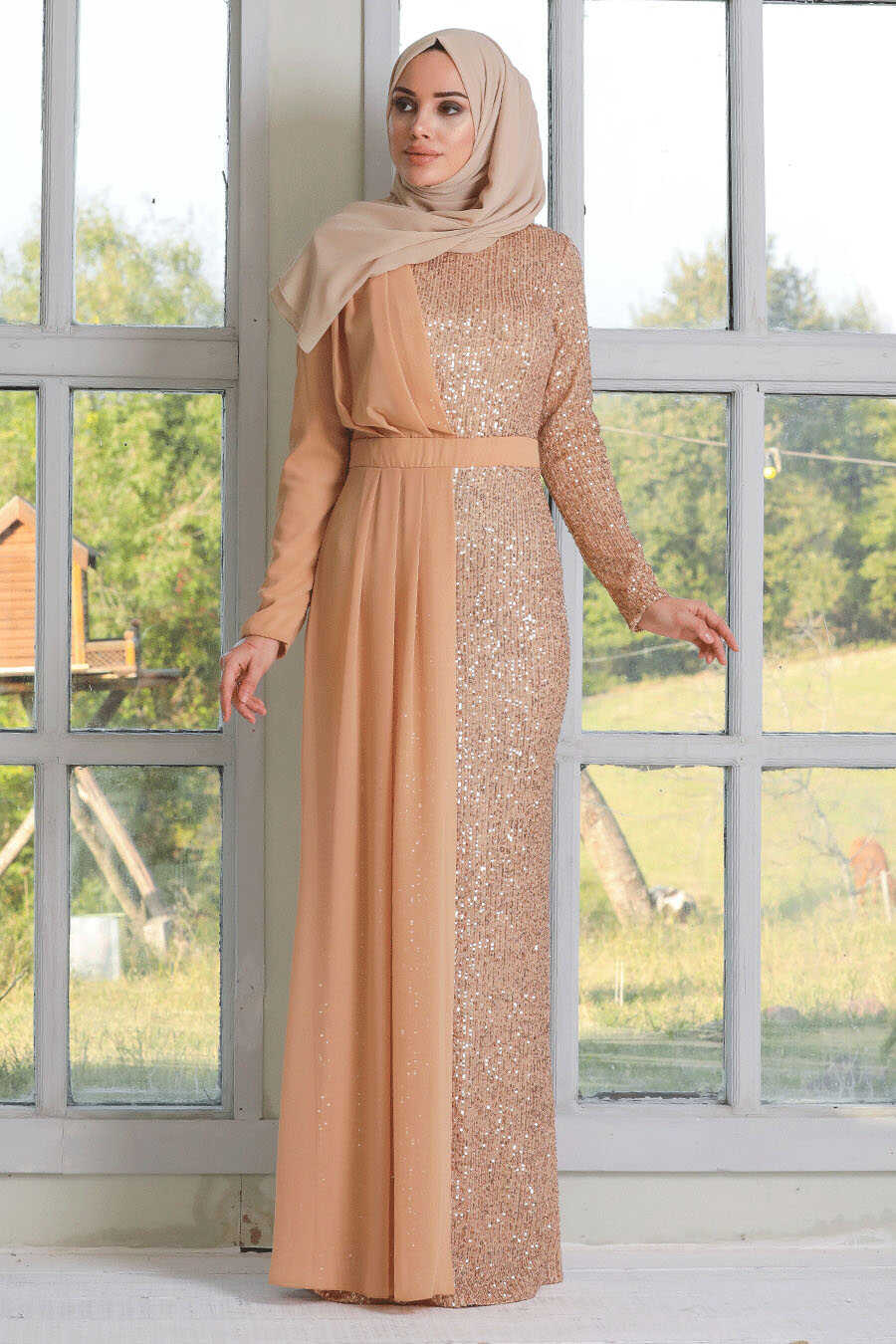 Gold Hijab Evening Dress 34290GOLD
