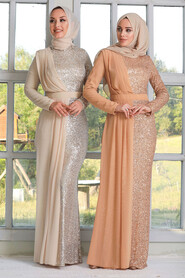 Gold Hijab Evening Dress 34290GOLD - Thumbnail