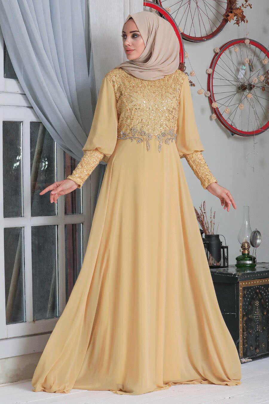 Gold Hijab Evening Dress 50102GOLD